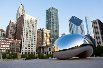 ChicagoIL Bean Sculpture and Skyline