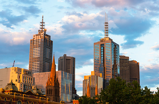 Melbourne Australia Sunset Skyline